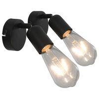 vidaXL Stenske svetilke 2 kosa z žarnicami 2 W črne E27
