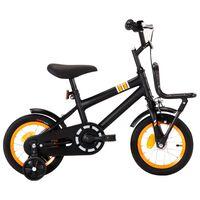 """vidaXL Otroško kolo s prednjim prtljažnikom 12"""" črno in oranžno"""