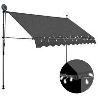 vidaXL Ročno zložljiva tenda z LED lučmi 300 cm antracitna