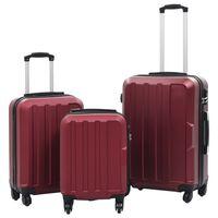 vidaXL Trdi potovalni kovčki 3 kosi vinsko rdeči ABS