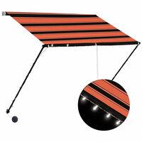 vidaXL Zložljiva tenda z LED lučmi 200x150 cm oranžna in rjava