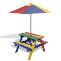 vidaXL Otroška piknik miza s klopmi in senčnikom večbarven les