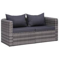 vidaXL Vrtni kotni kavči 2 kosa siv poli ratan