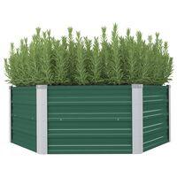 vidaXL Dvignjeno cvetlično korito 129x129x46 cm pocinkano jeklo zeleno