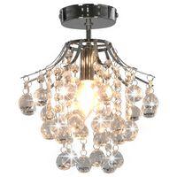 vidaXL Stropna svetilka s kristalnimi kroglicami srebrna okrogla E14