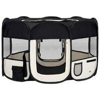 vidaXL Zložljiva pasja ograjica s torbo črna 125x125x61 cm