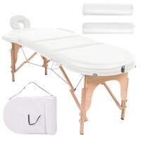 vidaXL Zložljiva masažna miza debelina 4 cm z 2 blazinama ovalna bela