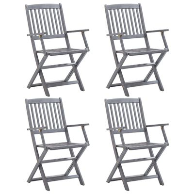 vidaXL Zložljivi zunanji stoli 4 kosi trden akacijev les