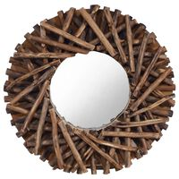 vidaXL Stensko ogledalo 40 cm iz tikovine okroglo