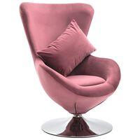 vidaXL Vrtljiv jajčast stol z blazino roza žamet