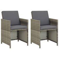 vidaXL Vrtni stoli 2 kosa z blazinami poli ratan sive barve