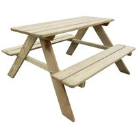 vidaXL Otroška piknik miza 89x89,6x50,8 cm borovina