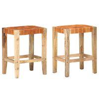 vidaXL Barski stolčki 2 kosa rjavo pravo usnje 60 cm