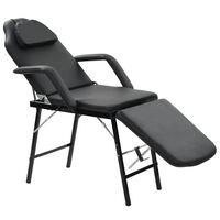 vidaXL Prenosni kozmetični stol iz umetnega usnja 185x78x76 cm črn
