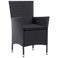 vidaXL Vrtni stol 2 kosa črne barve poli ratan