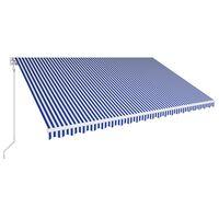 vidaXL Avtomatsko zložljiva tenda 500x300 cm modra in bela