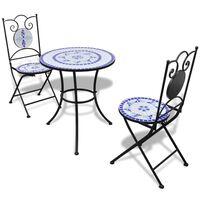 vidaXL Bistro garnitura 3-delna s keramičnimi ploščicami modro/bela