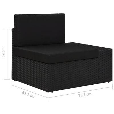 vidaXL Sekcijski kavč trosed poli ratan črn