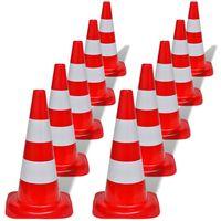 10 Odsevnih Prometnih Stožcev Rdeče in Bele Barve 50 cm