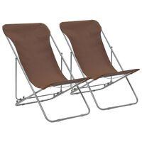 vidaXL Zložljivi stoli za na plažo 2 kosa jeklo in oksford blago rjavi