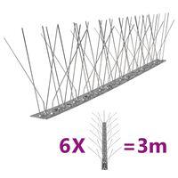 vidaXL Jeklene bodice proti pticam in golobom 5-vrst 6 kosov 3 m