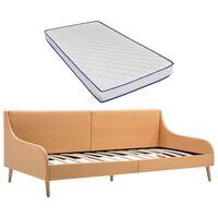 vidaXL Okvir za dnevno posteljo z vzmetnico iz sp. pene oranžno blago
