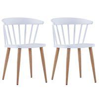 vidaXL Jedilni stoli 2 kosa bela plastika