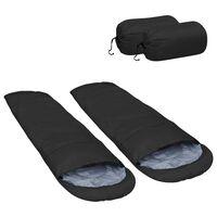 vidaXL Lahka spalna vreča 2 kosa črna 15 °C 850 g