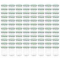 vidaXL Stekleni kozarci z belimi in zelenimi pokrovi 96 kosov 400 ml