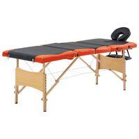 vidaXL Zložljiva masažna miza 4-conska les črna in oranžna