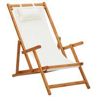 vidaXL Zložljiv stol za na plažo trden evkaliptusov les in krem blago