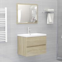 vidaXL Omarica za umivalnik z vgradnim umivalnikom sonoma hrast