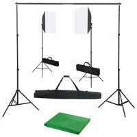 vidaXL Komplet za fotografski studio s softbox svetilkami in ozadjem
