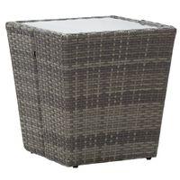 vidaXL Čajna mizica siva 41,5x41,5x43 cm poli ratan in kaljeno steklo