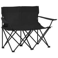 vidaXL Zložljiv stol za kampiranje za 2 osebi jeklo in blago črn