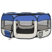 vidaXL Zložljiva pasja ograjica s torbo modra 145x145x61 cm