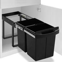 vidaXL Kuhinjski izvlečni koš za smeti s počasnim zapiranjem 48 L