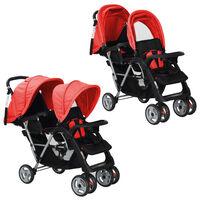 vidaXL Dvojni otroški voziček jeklen rdeče in črne barve