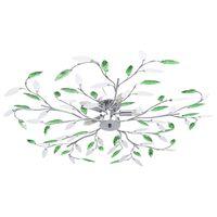 vidaXL Stropna svetilka s kristalnimi listi za 5 E14 žarnic zelena