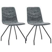 vidaXL Jedilni stoli 2 kosa črno umetno usnje
