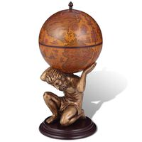 vidaXL Globus z barom / stojalo za vino Atlas dizajn 42x42x85 cm