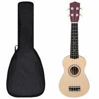 """vidaXL Otroški ukulele soprano s torbo svetel les 21"""""""