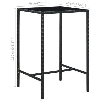 vidaXL Vrtna barska miza črna 70x70x110 cm poli ratan in steklo