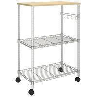 vidaXL 3-nadstropni kuhinjski voziček 61x36x85 cm kromirano železo