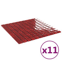 vidaXL Samolepilne mozaik ploščice 11 kosov rdeče 30x30 cm iz stekla