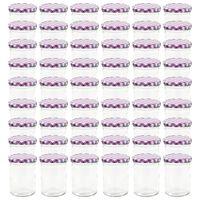 vidaXL Stekleni kozarci z belimi in vijoličnimi pokrovi 48 kosov 400ml