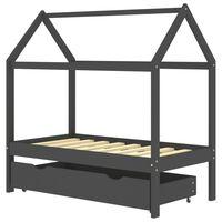 vidaXL Otroški posteljni okvir s predalom temno siva borovina 70x140cm