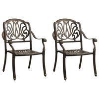 vidaXL Vrtni stoli 2 kosa liti aluminij bronasti