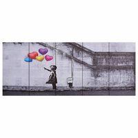 vidaXL Slika na platnu baloni in otrok večbarvna 150x60 cm