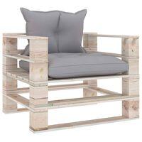 vidaXL Vrtni kavč iz palet s sivimi karo blazinami borovina